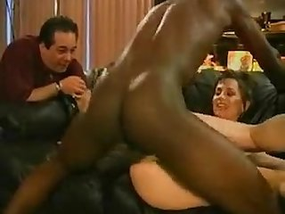 Waching his sexy wife fucked hard by a big black cock