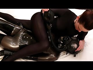 Savannah tries a little breath restriction with our rubber girl