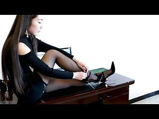 Stiletto high heels girl beauty leg with nylons silk stockings