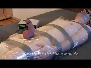 Cumcontrol a young guy over 2 hours bondage electro milking sock smell