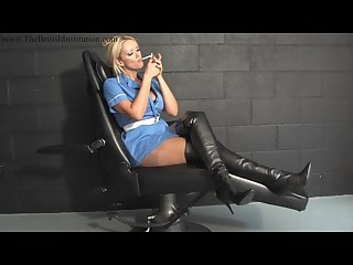 Sexy nurse dom lucy zara smoking in boots