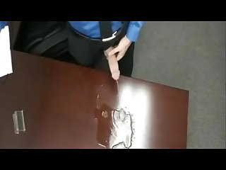 Suit tie businessman takes a hard piss on his desk