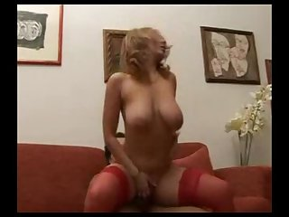 Italian milf gets showered with cum on her hot tits