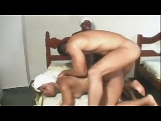 Boss wakes up African maids for anal