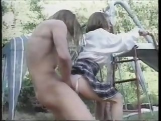 Vintage school girl fucked on the playground