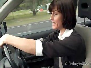 Sexy milf masturbate in a car