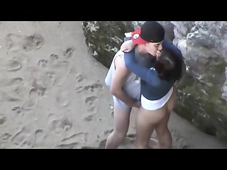 Young sexy couple caught fucking on the beach