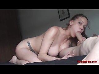 Amazing tits milf sucks huge cock