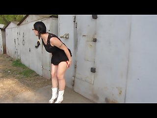 Piss standing near the garage and a large Stream boyfriend filmed it on cam