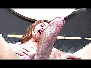 Thick cock bursts out of pretty pink panties and gets tugged