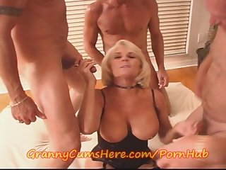 Granny gets her first gang bang