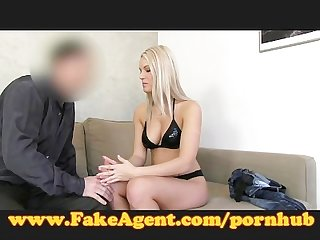 Fakeagent blonde babe gets spunk shower