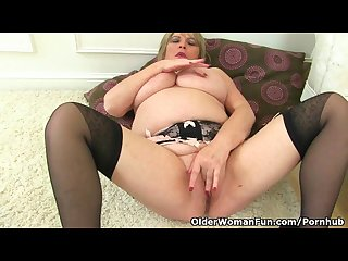 British milf Alisha rydes loves wearing black stockings and dildoing