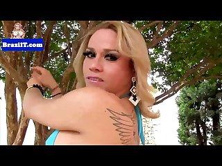 Bigtitted brasilian tgirl jerking her cock
