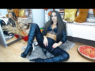 Camgirl leather jacket and boots