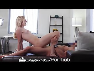 Casting couch x blonde cheerleader shows off on cam