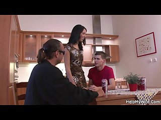 Husband friend bangs his hot brunette wife