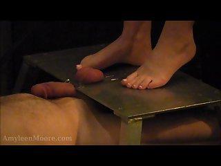 Merciless barefoot cock ball crushing flattening cbt bondage device