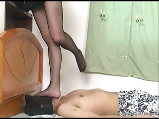 Chinese girl pantyhose and fishnet Trampling