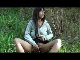 Ebony flasher candy canes outdoor masturbation and public nudity of black