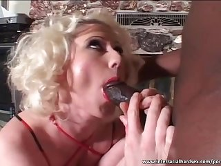 Big boobed blonde fucked by fat black dick