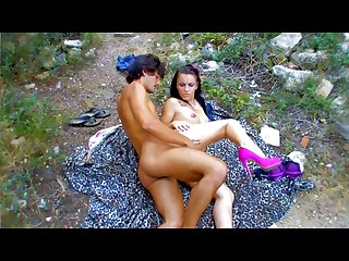 Spanish hot teen couple fuck in some old ruins
