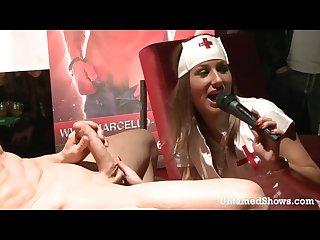 Hot stripper nurse sucking a large dick