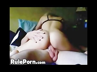Riding his cock to creampie
