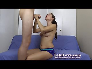 Talking to you my cuckold while i suck his cock til he cums on my tits