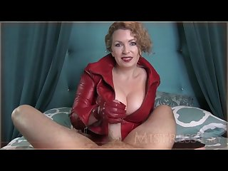 Dominatrix gifs a handjob in red leather jacket and gloves