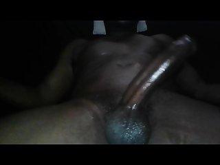Big black dick stroking heavy cum load