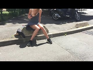 Walking and flashing in the streets sexy girlfriend leolulu