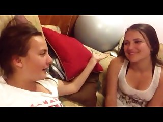 Drunk 18 year old lesbians talk and make out