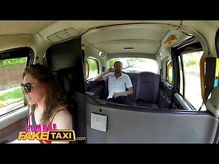 Femalefaketaxi sexy cabbie in stunning red dress fucks her passenger