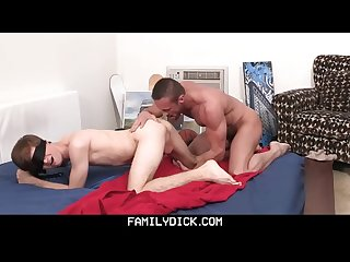 Familydick muscle daddy plays with blindfolded Twink