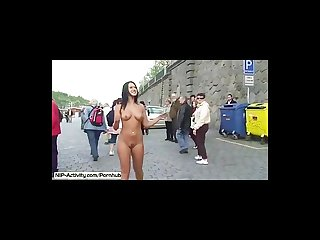 Crazy babes naked on public streets