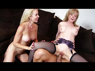 Hot milf threesome as nina hartley erica lauren bang a lucky stud