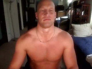Bald muscle stud jerking off and hot cum shot
