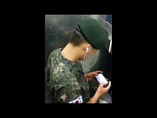 Spy cam Korean soldier caught jerking off in public Toilet