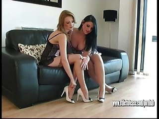Sexy slender high heeled babes talk dirty for shoe fetish cum