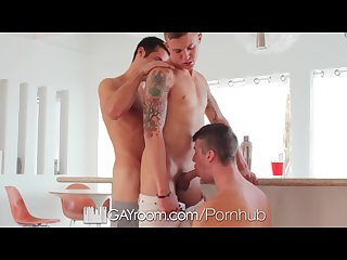 Hd gayroom threesome with the Delivery guy