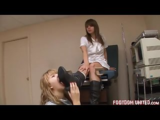 Nurse makes her patient lick her boots