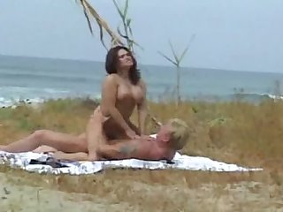 Pussy pierced brunette fucked at the beach