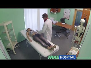 Fakehospital gorgeous English patient screams with pleasure as doctor slide