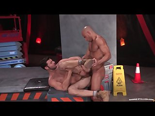 Raging Stallion cum all over hairy body
