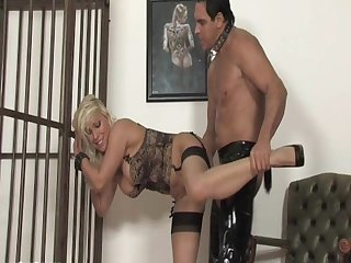 Caged blonde milf earns the right to get out