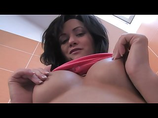 Small tittied beauty fingering her pussy