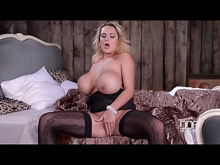 Curvy Blonde Bombshell Katie Thornton Black Lingerie Masturbation