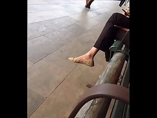 Pretty young girl flats play while waiting for the train arrival -part 1