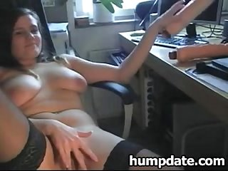 Stunning busty babe inserts huge dildo